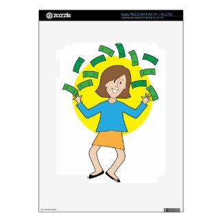 Señora y dinero felices pegatina skin para iPad 3
