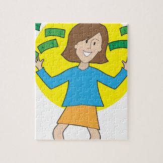 Señora y dinero felices puzzle con fotos