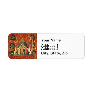 Señora y el arte medieval de la tapicería del etiquetas de remite