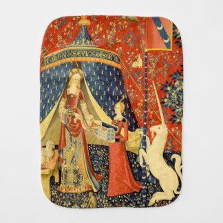 Señora y el arte medieval de la tapicería del paños para bebé