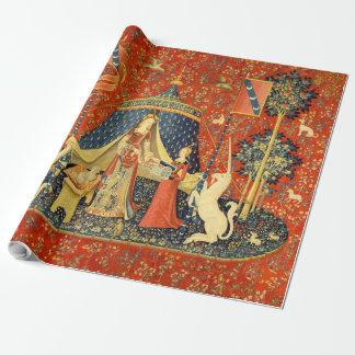 Señora y el arte medieval de la tapicería del papel de regalo
