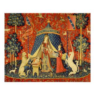 Señora y el arte medieval de la tapicería del perfect poster