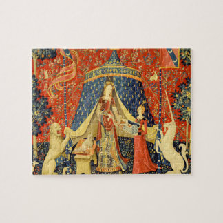 Señora y el arte medieval de la tapicería del rompecabeza con fotos