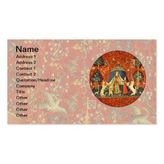 Señora y el arte medieval de la tapicería del tarjetas de visita