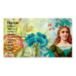 Señora y flores del vintage plantilla de tarjeta de visita