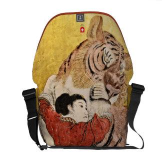Señora y la bolsa de mensajero del tigre bolsas messenger