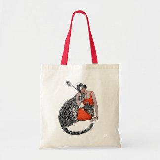 Señora y leopardo bolsa tela barata