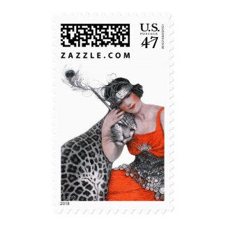 Señora y leopardo sello postal