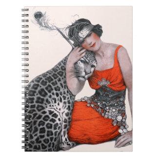 Señora y leopardo spiral notebook