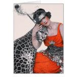 Señora y leopardo tarjetón