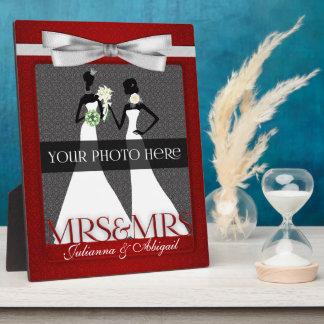 Señora y marco de señora Lesbian Gay Wedding Photo Placas Con Fotos