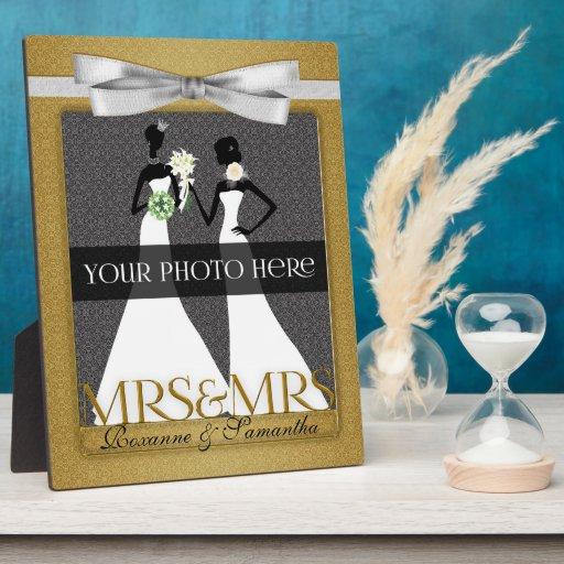 Señora y marco de señora Lesbian Gay Wedding Photo Placas Con Foto