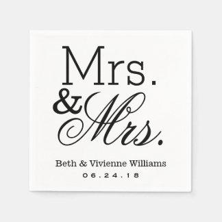 Señora y monograma de encargo de señora Wedding Servilletas Desechables