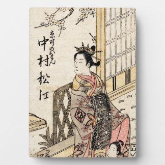 Señora y niño japoneses frescos del ukiyo-e del placa de madera