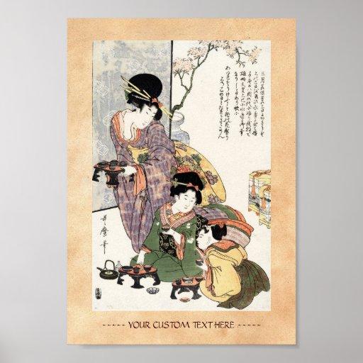 Señora y niños japoneses frescos del ukiyo-e del v posters