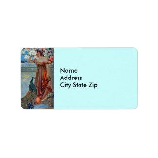 Señora y pavo real etiquetas de dirección