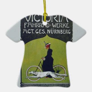 Señora y perro de la bicicleta del vintage adorno navideño de cerámica en forma de playera