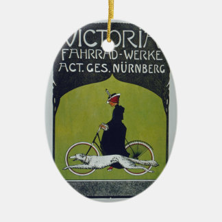 Señora y perro de la bicicleta del vintage adorno navideño ovalado de cerámica