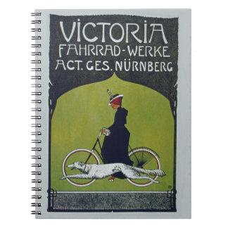 Señora y perro de la bicicleta del vintage cuadernos