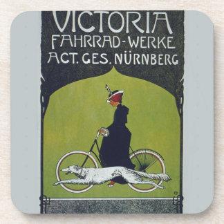Señora y perro de la bicicleta del vintage posavasos de bebida