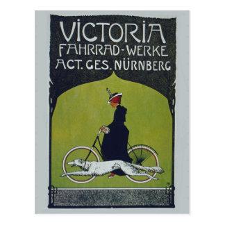 Señora y perro de la bicicleta del vintage postal