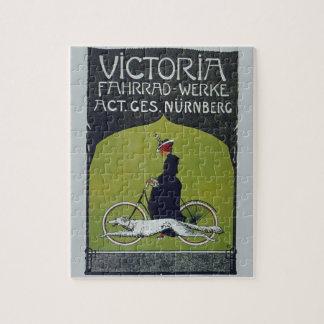 Señora y perro de la bicicleta del vintage puzzle