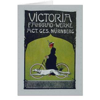Señora y perro de la bicicleta del vintage tarjeta de felicitación
