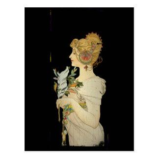 Señora y pluma parisienses postal