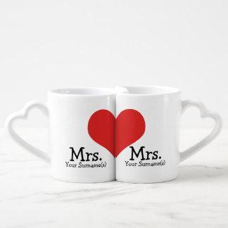 Señora y señora dos boda del corazón de las novias set de tazas de café