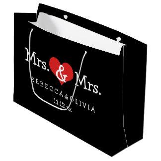 Señora y señora dos novias que casan bolsa de regalo grande