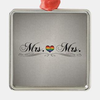 Señora y señora Lesbian Design Adorno Navideño Cuadrado De Metal