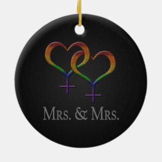 Señora y señora Lesbian Pride Adorno Navideño Redondo De Cerámica