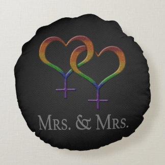 Señora y señora Lesbian Pride Cojín Redondo