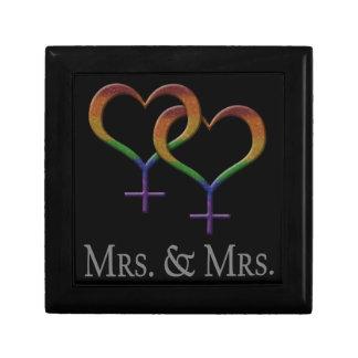 Señora y señora Lesbian Pride Joyero Cuadrado Pequeño