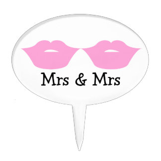 Señora y señora Lipstick Kisses Wedding v2 Figura De Tarta