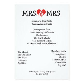 Señora y señora Love Heart Lesbian Wedding Anuncios