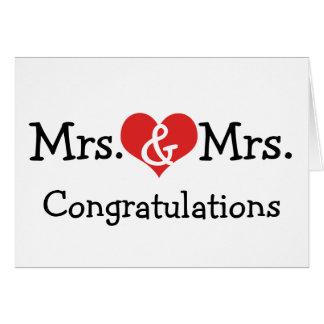 Señora y señora Love Heart Wedding Congratulations Tarjeta De Felicitación