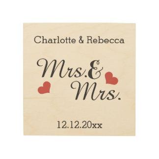 Señora y señora Personalized Name y fecha de la Cuadro De Madera