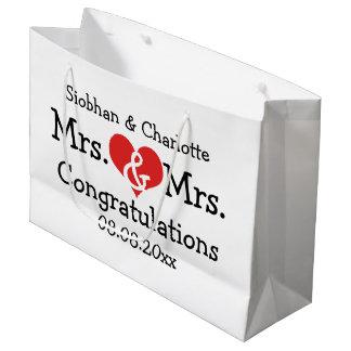 Señora y señora Red Heart Wedding Personalized Bolsa De Regalo Grande