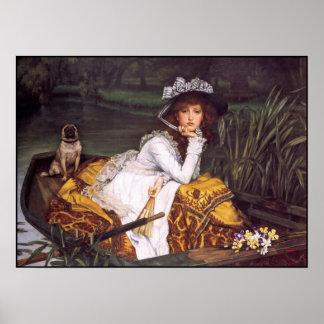 Señora y su barro amasado del mascota en un barco  posters