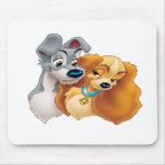 Señora y vagabundo tapetes de ratón