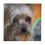 Señora Yorkshire Terrier Azulejo Cuadrado Pequeño