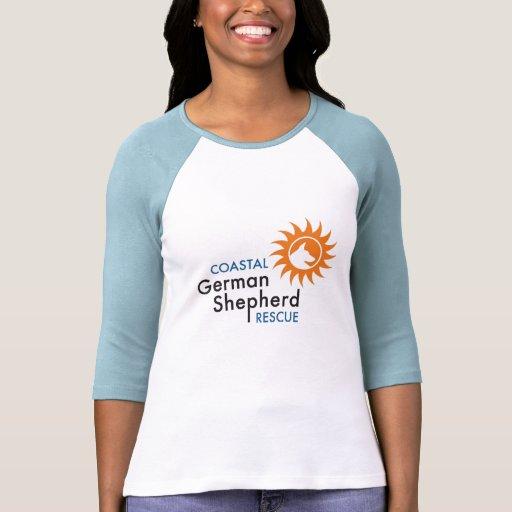 Señoras 3/4 manga (logotipo) del sol - Coastal GSR Camiseta