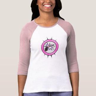 Señoras 3 4 raglán de la manga cabido camisetas