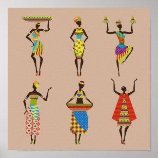 Señoras africanas tribales en tradicional colorido póster