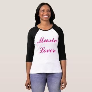 """Señoras """"amante de la música"""" 3/4 camiseta de la remera"""