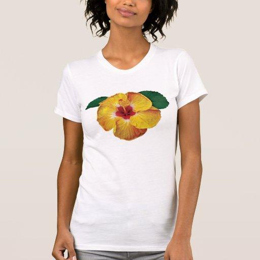 Señoras amarillas del hibisco camisetas