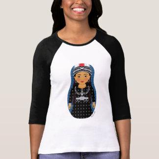 Señoras asirias de Matryoshka del chica 3/4 raglán Camisetas