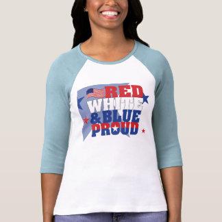 Señoras blancas y azules rojas 3/4 raglán de la tshirts