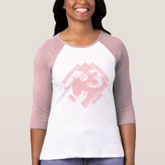 Señoras C3 3/4 manga rosada con el logotipo rosado Camiseta